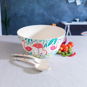 Cambridge COMBO-3144 Flamingos Bamboo Eco-Friendly Serving Bowl and Two Utensils Thumbnail 5