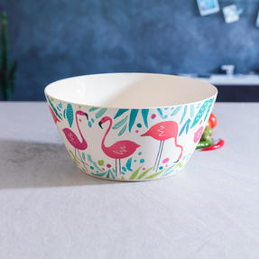Cambridge COMBO-3144 Flamingos Bamboo Eco-Friendly Serving Bowl and Two Utensils Thumbnail 6