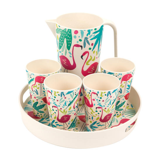 Cambridge COMBO-3145 Flamingos Bamboo Eco Friendly Cups, Jug and Serving Tray - 6 Piece