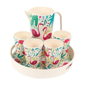 Cambridge COMBO-3145 Flamingos Bamboo Eco Friendly Cups, Jug and Serving Tray - 6 Piece Thumbnail 1