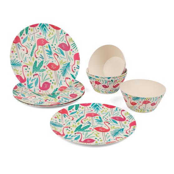 Cambridge COMBO-3146 Flamingos Bamboo Eco Friendly Plates and Bowls Tableware, 8 Piece