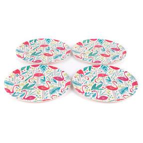 Cambridge COMBO-3146 Flamingos Bamboo Eco Friendly Plates and Bowls Tableware, 8 Piece Thumbnail 9