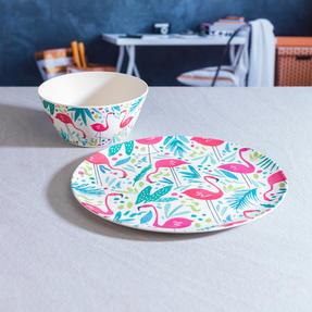 Cambridge COMBO-3146 Flamingos Bamboo Eco Friendly Plates and Bowls Tableware, 8 Piece Thumbnail 12