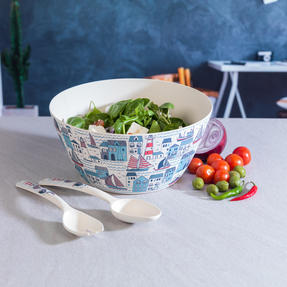 Cambridge COMBO-3147 Plymouth Bamboo Eco-Friendly Serving Bowl and Two Utensils Thumbnail 3