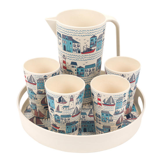 Cambridge COMBO-3148 Plymouth Bamboo Eco Friendly Cups, Jug and Serving Tray - 6 Piece