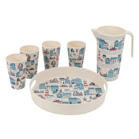 Cambridge COMBO-3148 Plymouth Bamboo Eco Friendly Cups, Jug and Serving Tray - 6 Piece Thumbnail 4