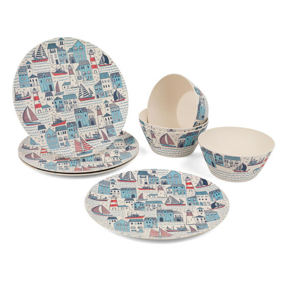 Cambridge COMBO-3149 Plymouth Bamboo Eco Friendly Plates and Bowls Tableware, 8 Piece