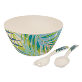 Cambridge COMBO-3150 Kayan Bamboo Eco-Friendly Serving Bowl and Two Utensils Thumbnail 1