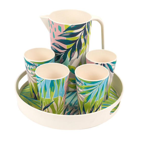 Cambridge COMBO-3151 Kayan Bamboo Eco Friendly Cups, Jug and Serving Tray - 6 Piece