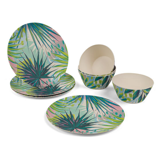 Cambridge COMBO-3152 Kayan Bamboo Eco Friendly Plates and Bowls Tableware, 8 Piece