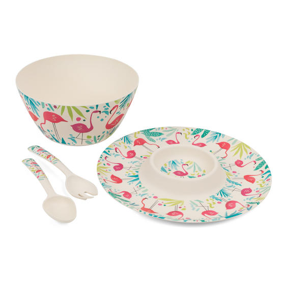 Cambridge COMBO-3333 Flamingos Bamboo Eco-Friendly Chip N Dip Tray, Serving Bowl and Two Utensils
