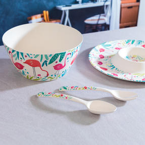Cambridge COMBO-3333 Flamingos Bamboo Eco-Friendly Chip N Dip Tray, Serving Bowl and Two Utensils Thumbnail 6