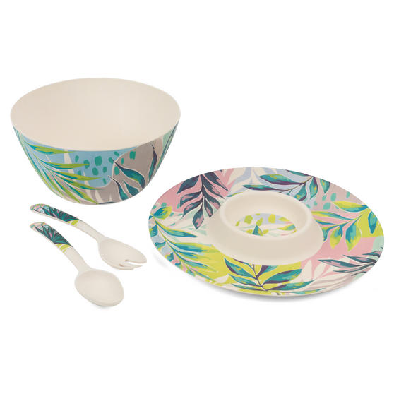 Cambridge COMBO-3335 Kayan Bamboo Eco-Friendly Chip N Dip Tray, Serving Bowl and Two Utensils