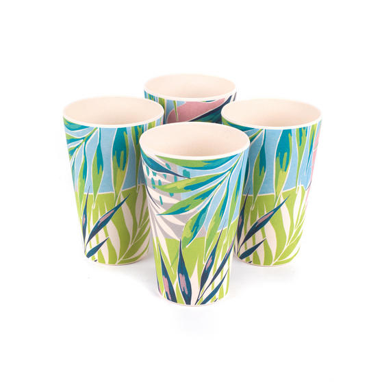 Cambridge CM06333 Eco Friendly Bamboo Dinnerware Cups, Set of 4, Kayan Print