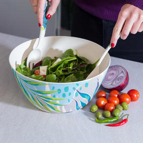 Cambridge CM06336 Eco Friendly Bamboo Dinnerware Large Serving Bowl, Kayan Print Thumbnail 3