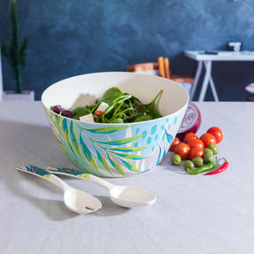 Cambridge CM06336 Eco Friendly Bamboo Dinnerware Large Serving Bowl, Kayan Print Thumbnail 5