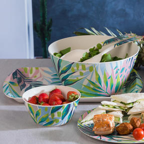 Cambridge CM06336 Eco Friendly Bamboo Dinnerware Large Serving Bowl, Kayan Print Thumbnail 6