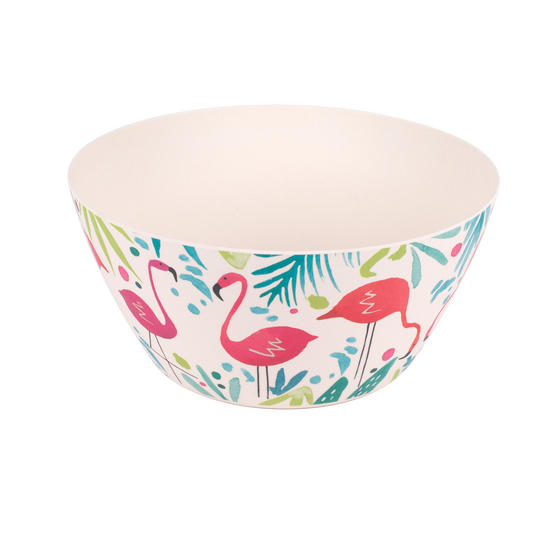 Cambridge Eco Friendly Bamboo Dinnerware Large Serving Bowl, Flamingo Print