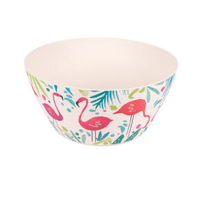 Cambridge CM06344 Eco Friendly Bamboo Dinnerware Large Serving Bowl, Flamingo Print Thumbnail 1