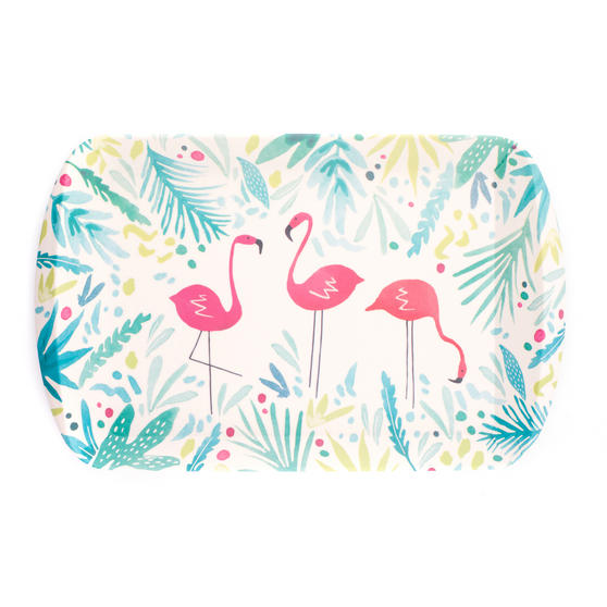 Cambridge Eco Friendly Bamboo Large Serving Tray, Flamingo Print