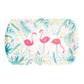 Cambridge CM06347 Flamingo Large Reusable Tray | Perfect for Serving Drinks At Parties