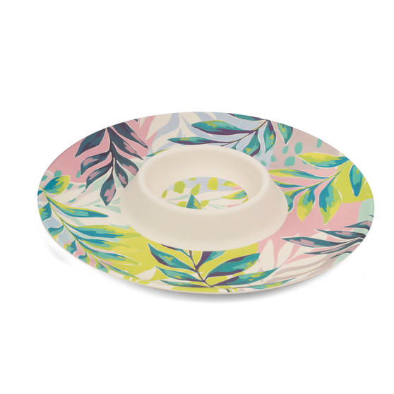 Cambridge Eco Friendly Bamboo Dinnerware Chip N Dip Tray, Kayan Print