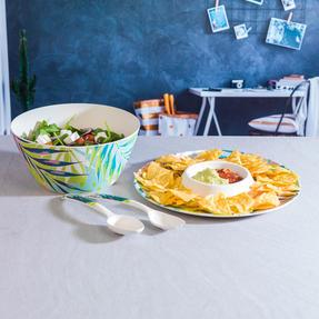 Cambridge CM06377 Eco Friendly Bamboo Dinnerware Chip N Dip Tray, Kayan Print Thumbnail 5