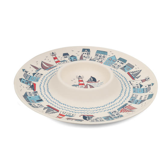 Cambridge Eco Friendly Bamboo Dinnerware Chip N Dip Tray, Plymouth Print