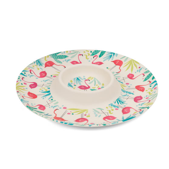 Cambridge Eco Friendly Bamboo Dinnerware Chip N Dip Tray, Flamingo Print