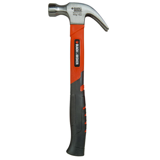 Black + Decker BDHT1-51242 Soft Grip Claw Hammer, 450 g