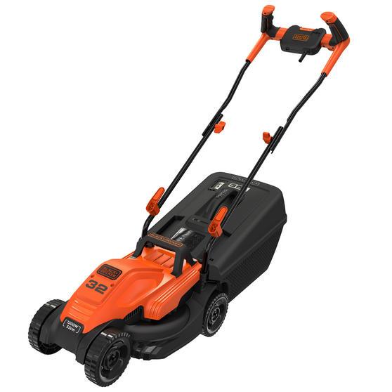 Black + Decker BEMW451BHGB Lawn Mower with Bike Handle, 1200 W, Orange, 32 cm