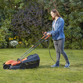 Black + Decker BEMW451BHGB Lawn Mower with Bike Handle, 1200 W, Orange, 32 cm Thumbnail 2