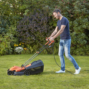 Black + Decker BEMW451BHGB Lawn Mower with Bike Handle, 1200 W, Orange, 32 cm Thumbnail 3
