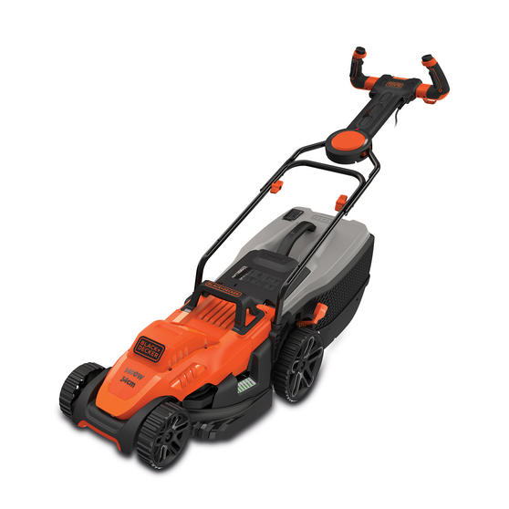 Black + Decker BEMW461ESGB Easy Steer Lawn Mower, 1400 W, Orange, 34cm