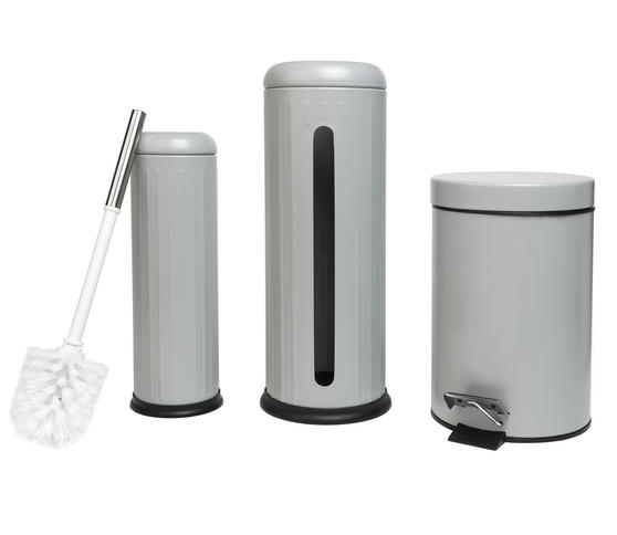 Beldray Toilet Roll Storage and Brush Set with 3L Soft Close Bin, Grey Thumbnail 2