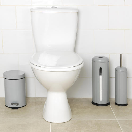 Beldray Toilet Roll Storage and Brush Set with 3L Soft Close Bin, Grey Thumbnail 4