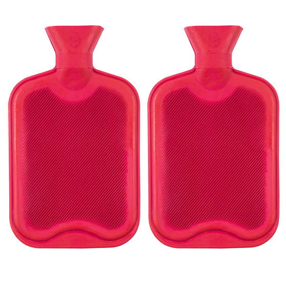 Beldray 2 Litre Ribbed Hot Water Bottle, Set of 2, Red