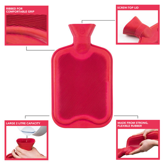 Beldray 2 Litre Ribbed Hot Water Bottle, Set of 2, Red Thumbnail 2