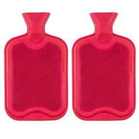 Beldray COMBO-3383 2 Litre Ribbed Hot Water Bottle, Set of 2, Red