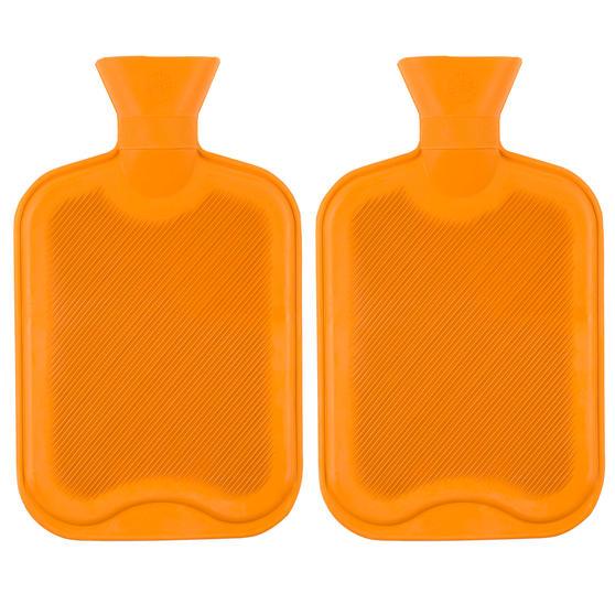 Beldray 2 Litre Ribbed Hot Water Bottle, Set of 2, Orange