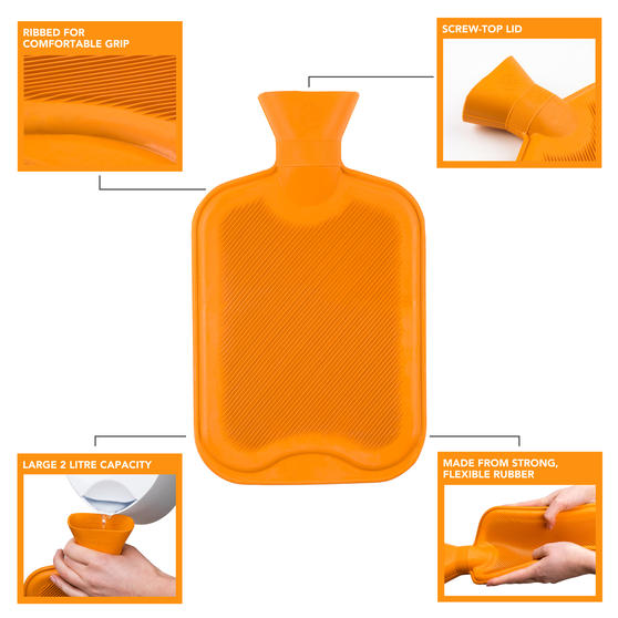 Beldray 2 Litre Ribbed Hot Water Bottle, Set of 2, Orange Thumbnail 2