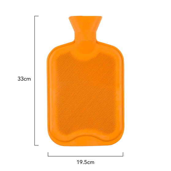 Beldray 2 Litre Ribbed Hot Water Bottle, Set of 2, Orange Thumbnail 3