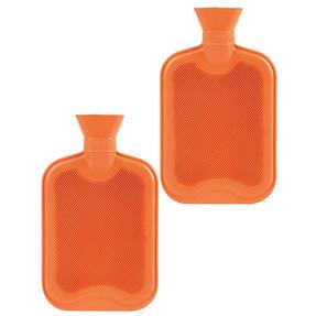 Beldray COMBO-3384 2 Litre Ribbed Hot Water Bottle, Set of 2, Orange Thumbnail 1