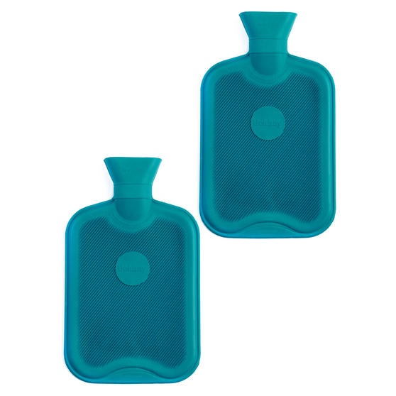 Beldray 2 Litre Ribbed Hot Water Bottle, Set of 2, Turquoise