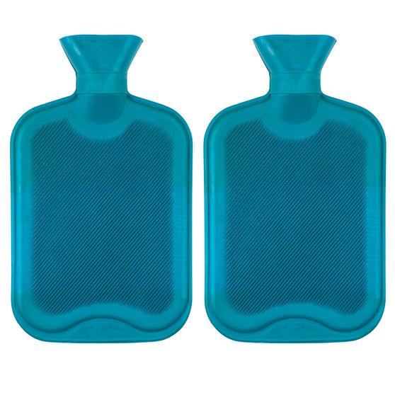 Beldray 2 Litre Ribbed Hot Water Bottle, Set of 2, Turquoise Thumbnail 1