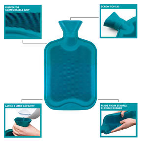 Beldray COMBO-3385 2 Litre Ribbed Hot Water Bottle, Set of 2, Turquoise Thumbnail 2