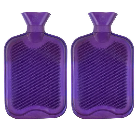 Beldray COMBO-3386 2 Litre Ribbed Hot Water Bottle, Set of 2, Purple
