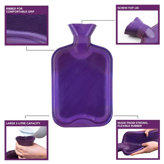 Beldray 2 Litre Ribbed Hot Water Bottle, Set of 2, Purple Thumbnail 2