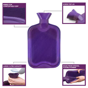 Beldray COMBO-3386 2 Litre Ribbed Hot Water Bottle, Set of 2, Purple Thumbnail 2