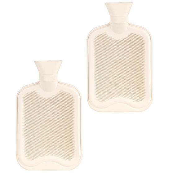 Beldray 2 Litre Ribbed Hot Water Bottle, Set of 2, Cream